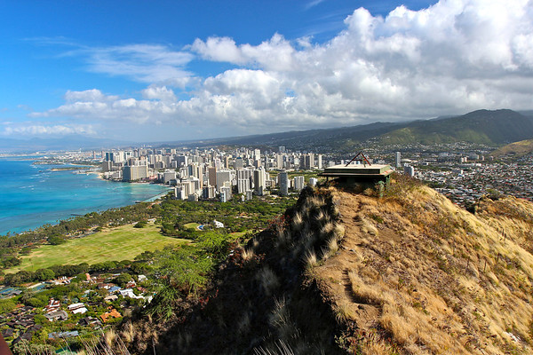 Waikiki from Diamond Head, Oahu Hawaii, July 2012